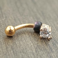 Rose Gold Crystal Daith Rook Eyebrow Ring Piercing
