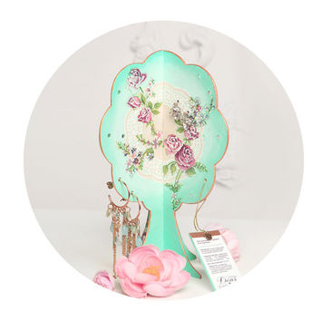 Earring Holder // Jewelry Gift Set Organizer // Display // Shabby Cottage Chic // Storage // Earring Tree
