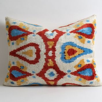 velvet pillow, decorative pillow, throw pillow, ikat, ikat pillow, velvet, pillow cover, accent pillow, decorative pillows, ikat pillows
