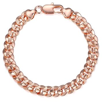 Trendsmax Hammered Curb Cuban Link Womens Mens Bracelet Chain Rose Gold Filled GF 9mm 7-11inch