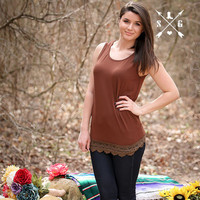 Solid Tank With Lace Trim in Brown