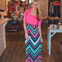 Pink Chevron Maxi- Short Sleeve