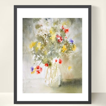 Bouquet Painting Print, Flower in a Vase Watercolor Painting,Yellow Flower Art Print, Impressionist Flower Painting, Olive Green Wall Decor