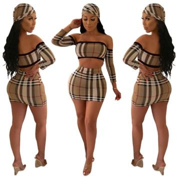 New classic Plaid sexy bust skirt suit (including headscarf)