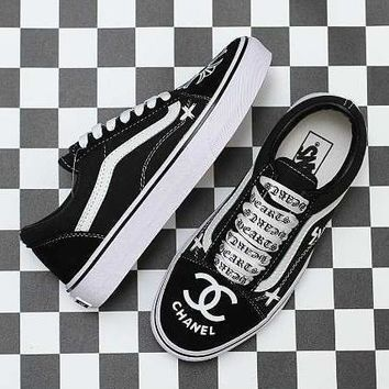 Vans x Chrome Hearts x Chanel Old Skool Canvas Sneakers Sport Shoes
