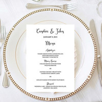 Wedding Menu Digital Printable Simple Classic Scripted Print Wedding Decoration Wedding Sign Wedding Card Reception Dinner Event