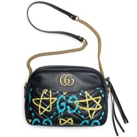 LMFIX5 Gucci Ghost GG Marmont Black Graffiti Leather Shoulder Bag Handbag Italy New 1