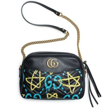 DCCKUG3 Gucci Ghost GG Marmont Black Graffiti Leather Shoulder Bag Handbag Italy New 1