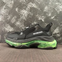 Balenciaga Triple S Clear Sole Black Trainers Oversized Multimaterial Sneakers With Air Green Inside The Sole - Best Online Sale