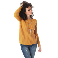 Ochre chunky knit sweater with chiffon back