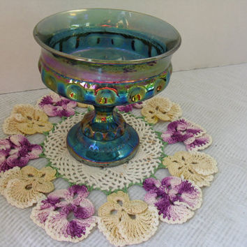 Vintage Blue Harvest Carnival Pedestal Candy Dish, such lovely Iridescent Colors