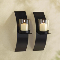 Modern-Art Candle Sconce Duo
