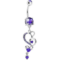 Tanzanite Gem Intricate Hearts Dangle Belly Ring | Body Candy Body Jewelry