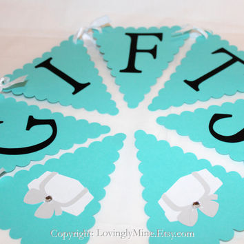 Tiffany & Co Inpsired Baby Shower Gift Banner Sign -  Tiffany Blue