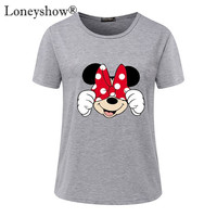 Summer 2017 New T-shirts For Women cartoon minnie mouse printed Tops Harajuku Tops Shirt Female T-shirt basic Tees Plus size