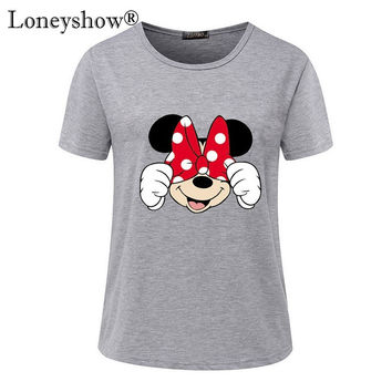Summer 2017 New T-shirts For Women cartoon minnie mouse printed Tops Harajuku Tops Shirt Female T-shirt basic Tees Big Size