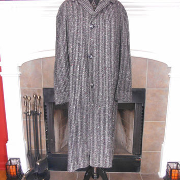 """40s or 50s, Men's Vintage """"College Roe Guaranteed Clothes"""" Grey Tweed, Heavy Wool Coat, Can Be Worn By Ladies, No Size/Material/Care Labels"""