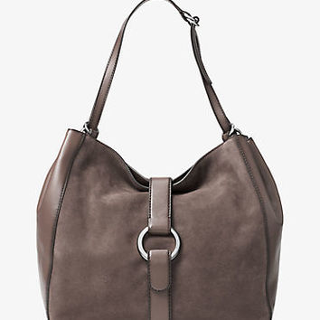 Quincy Large Suede and Leather Shoulder Tote | Michael Kors