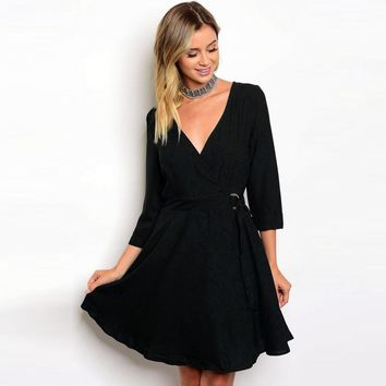 Womens Sexy Solid 3/4 Sleeve Dress Slim Deep-V Neck Lace-Up Straight Knee-Length Dress ropa mujer primavera vestidos elegante