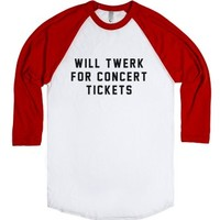 will twerk for concert tickets-Unisex White/Red T-Shirt