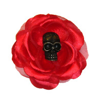 Red Tiki Skull Rose