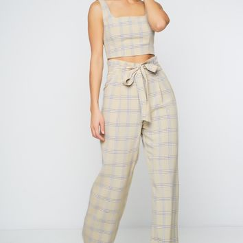 Cher Trousers - Nude Plaid
