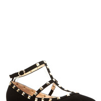 Black Faux Suede Studded Pointed Toe Ankle Strap Flats