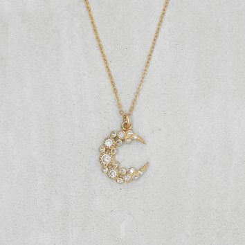 Cluster Moon Necklace  - Gold