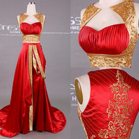 New Design Gold and Red Embroidery Beading Long Prom Dress/Embroidery Prom Dress/Red Prom Dresses/Unique Prom Dress 2015 DH410