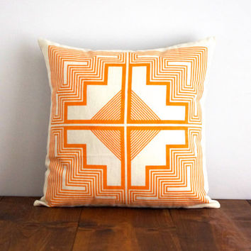 SAMPLE SALE // Native Quilt Pillow - Clementine Orange - Screen Printed Organic Cotton