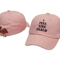 I FEEL LIKE PABLO Hat Kanye West Yeezy Yeezus THE LIFE OF PABLO Embroidered Cap Pink Fitted Trucker Sun Hat