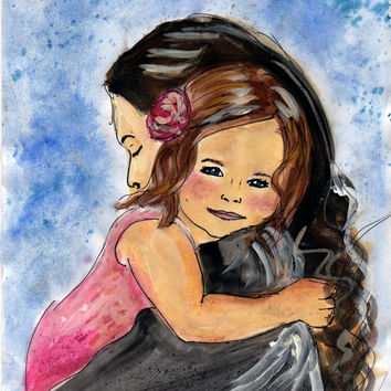 Children painting. Mother and Child Single parent gift of family painting. Family portrait art from photo mother and daughter gift ideas