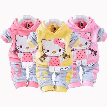 New Hello Kitty Girls Baby's Sets Spring Cartoon Velvet Long Sleeve Children Hoodies Pants 2 Pieces Velour Suit Kids Clothing
