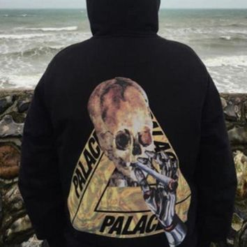 ac NOVQ2A Palace autumn and winter skull triangle printing plus velvet hood hooded sweater Black