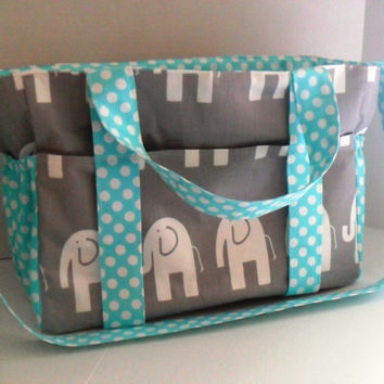 Extra Large  Diaper bag Made of Gray and White  Elephant with Turquoise Polka Dot Fabric / Elastic Pockets