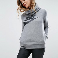 Nike Rally Pullover Hoodie In Grey With Large Futura Logo at asos.com