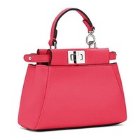 Fendi Micro Peekaboo Fuchsia Leather Handbag Made in Italy