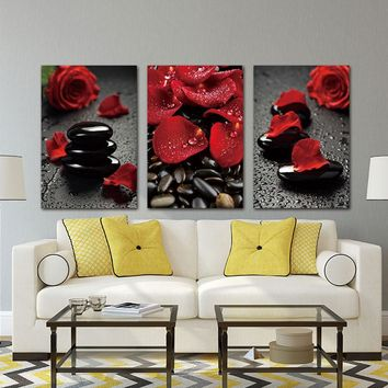 Wall Art Pictures Canvas Painting  Prints Flower Red Rose on canvas Home decor Art Modular Pictures For Living Room no frame