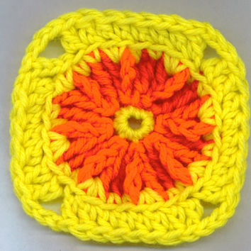 Crocheted Squares YELLOW RED Soap Dish Face Cloth Coaster