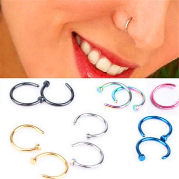 Titanium Nose Ring Piercing Silver Gold Body Clip Hoop Women