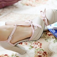 Ladies High Heel Pumps Platform Bowknot  Hollow Out  T-strappy  Shoes CS233