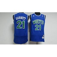 Classic NBA Basketball Jerseys Minnesota Timberwolves #21 Kevin Garnett Blue-1