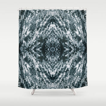 Beautiful Silver sparkles Frozen Ice bubbles Mandala Shower Curtain by PLdesign
