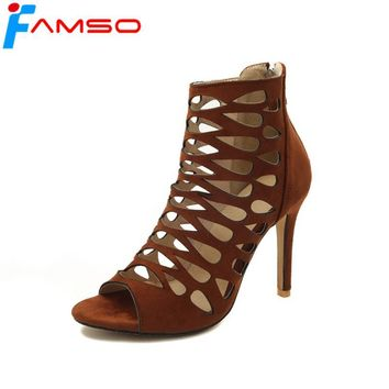 FAMSO  2018 New Shoes Women Boots Peep toe Retro Style Prom Pumps Shoes Cut-outs Zipper Ankle Boots Summer Office Boots Sandals
