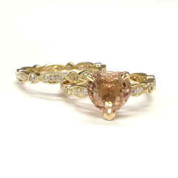 Morganite Wedding Ring Set!Diamond Engagement Ring 14K Yellow Gold,Art Deco Antique,8mm Heart Shaped Cut Morganite,Stackable Matching Band