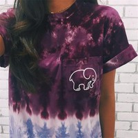 ROCKSIR Summer Tie Dye Printed Women Tshirt Kawaii Ivory Ella Elephant Short Sleeve Shirt Girls Fashion Casual Harajuku Tops Tee