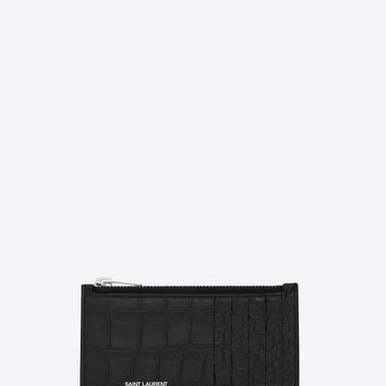 Saint Laurent CLASSIC SAINT LAURENT PARIS 5 FRAGMENTS ZIP POUCH IN Black Crocodile Embossed LEATHER | ysl.com