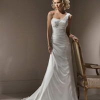 2012 Maggie Sottero Bridal - Ivory Satin Pleated One Shoulder Rita Marie Wedding Gown - 0 - 28 - Unique Vintage - Cocktail, Evening & Pinup Dresses