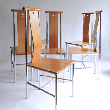 20% off Sale: Suite of 6 Sculptural Side Chairs. 1990's Dining Chairs.
