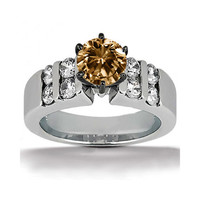 1.30 ct. champagne diamond anniversary ring white gold
